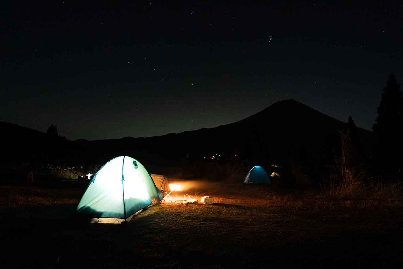 キャンプと焚き火と富士山